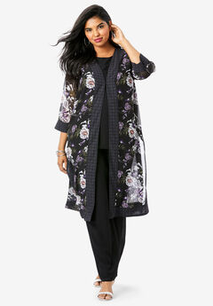 Three-Piece Duster & Pant Set with Open Front, GEO PEONY FLORAL