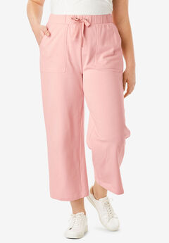 Wide-Leg Crop French Terry Pant with Drawstring Waist, SOFT BLUSH