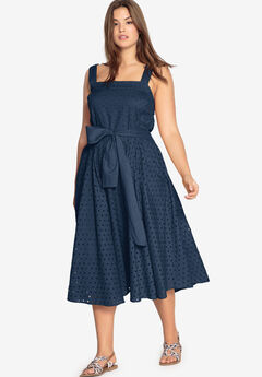 Tie-Waist Eyelet Dress by Castaluna,