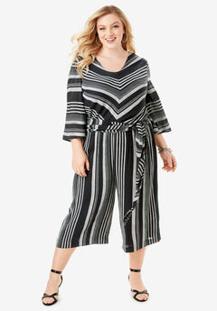 Crinkle Culotte Jumpsuit with Tie Belt, BLACK WHITE STRIPE