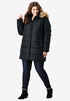 Classic-Length Quilted Parka with Hood,