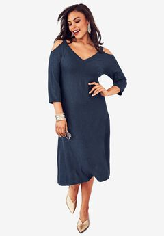 Belted Sweater Dress with Cold Shoulder Detail, NAVY