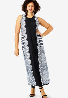 Ultrasmooth® Print Maxi Dress, BLACK ETCHED STRIPE