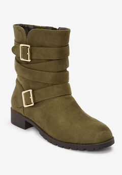The Madi Wide Calf Boot by Comfortview®, DARK OLIVE