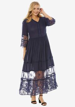 Rayon Crinkle Dress, NAVY