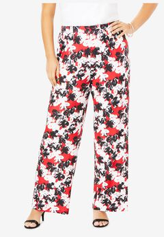 Wide-Leg Pant, RED ABSTRACT FLORAL