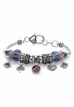 "Silver-Plated Simulated Birthstone 8"" Charm Bracelet,"