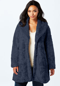 Shawl Collar Faux-Fur Coat, NAVY