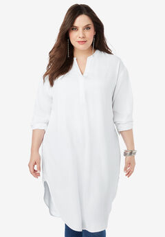 Georgette Pullover Ultra Tunic with High-Low Hem, WHITE
