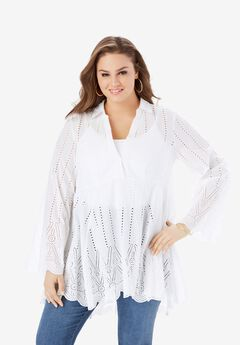 Eyelet Fit-and-Flare Tunic,