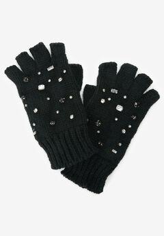 Rhinestone Studded Fingerless Gloves,