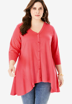 Button-Front Ultimate Tunic, SOFT GERANIUM