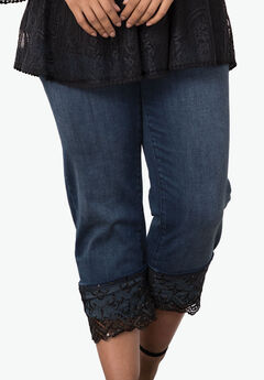 Lace Cuff Jean by Denim 24/7®, DARK WASH