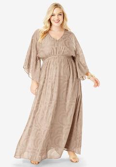 Kimono-Sleeve Maxi Dress,