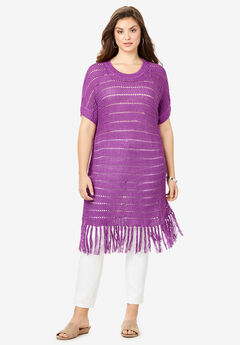 Crochet Fringe Sweater, PURPLE MAGENTA