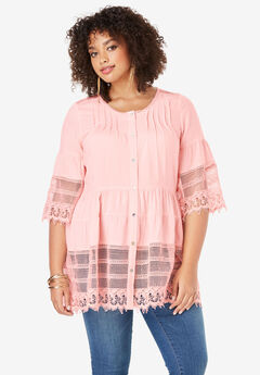 Illusion Lace Tunic, SOFT BLUSH