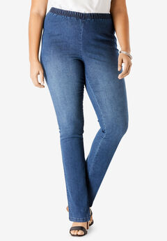 Pull-On Stretch Denim Straight-Leg Jean by Denim 24/7®,