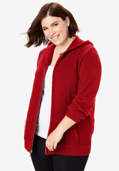Thermal Hoodie Cardigan, VIVID RED