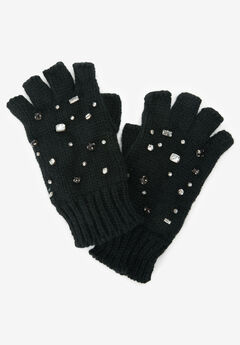 Rhinestone Studded Fingerless Gloves,