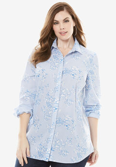 Long-Sleeve Kate Shirt, BLUE FLORAL STRIPE