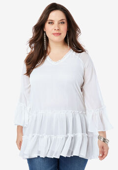 Tiered Ruffle Tunic with Bell Sleeves, WHITE
