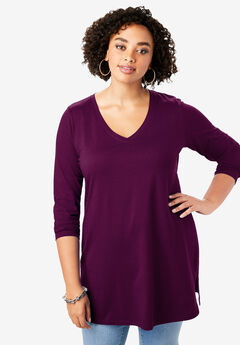 Long-Sleeve V-Neck Ultimate Tunic, DARK BERRY