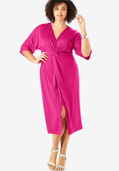 Knot-Front Sheath Dress with Dolman Sleeves,