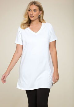 V-Neck Maxi Tunic, WHITE