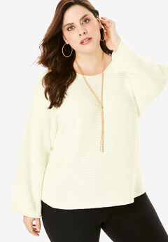 Ribbed Scoopneck Sweater with Flared Sleeves, IVORY