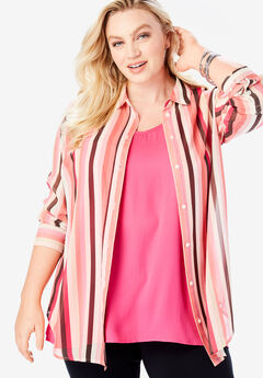 Georgette Bigshirt, MULTI STRIPE