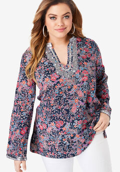Flared-Sleeve Tunic with Embellishments, NAVY FLORAL PAISLEY