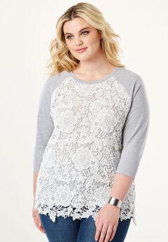 Lace Overlay Sweatshirt,