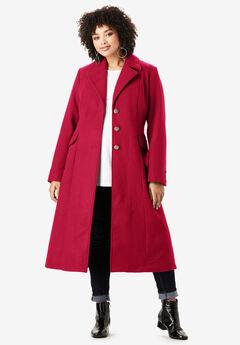 Long Wool-Blend Coat, CLASSIC RED