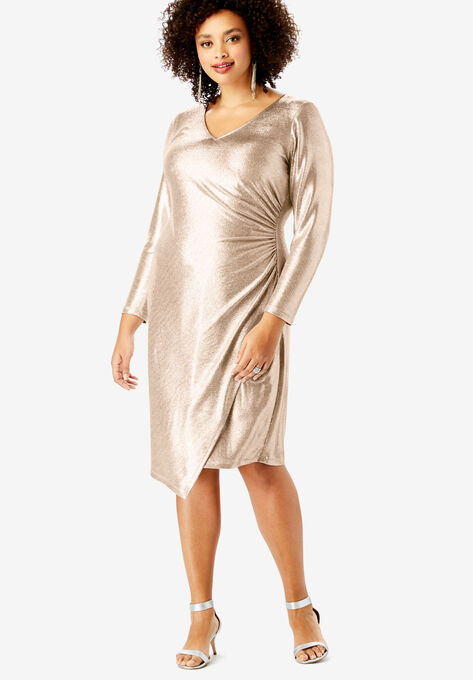 Metallic V-Neck Dress with Side Ruching by Ronnie Nicole