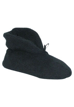 Micro Terry Cuff Slipper Booties by Muk Luks®, BLACK