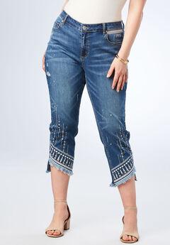 Embroidered Step Hem Jean,