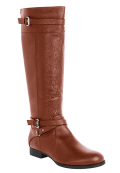 The Janis Leather Boot by Comfortview®, COGNAC