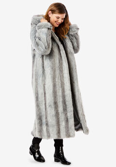 Full Length Faux-Fur Coat with Hood,