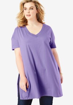 V-Neck Ultimate Tunic, PURPLE LILY