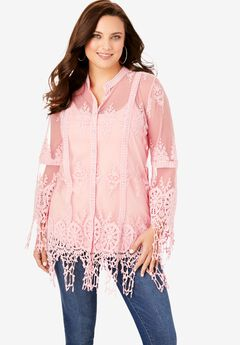 Sheer Lace Crochet Tunic, SOFT BLUSH