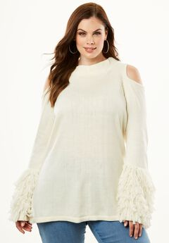 Cold-Shoulder Loop-Sleeve Sweater,