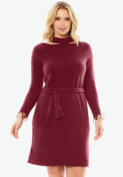 Cold Shoulder Sweater Dress by Depeche, BURGUNDY