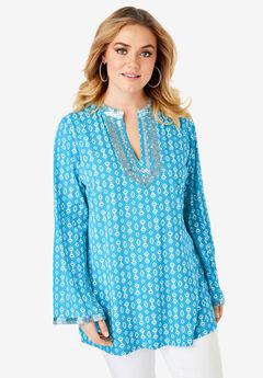 Flared-Sleeve Tunic with Embellishments, TURQUOISE TRIBAL