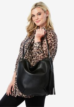 Studded Hobo Bag with Pockets,