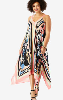 Scarf-Print Maxi Dress with Handkerchief Hem, CORAL ABSTRACT FLORAL