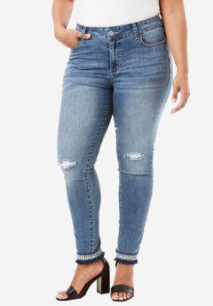 Embellished Hem Skinny Jean By Denim 24/7®,