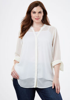 Sheer Crinkle Tunic, IVORY
