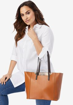 Faux-Leather Shopper Tote,