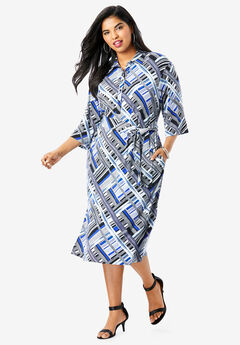 Belted Shirtdress with Pockets, BLUE PAINTED PLAID (PRINT)
