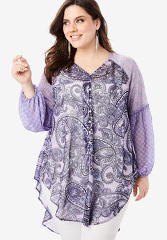 Sheer V-Neck Tunic with High-Low Hem,